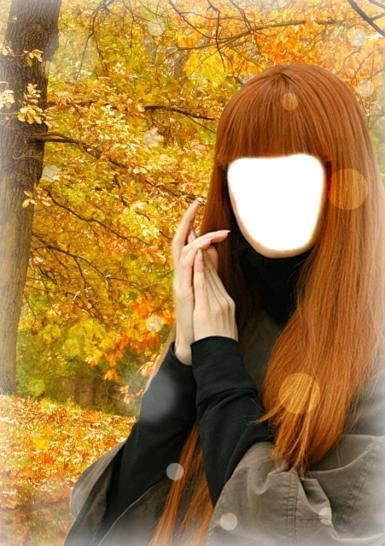 Женские. Рамка, фотоэффект: Длинноволосая, осенняя девушка.