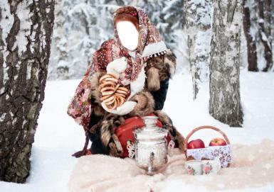 Женские. Рамка, фотоэффект: Русская красавица. Девушку на снегу в расписном платке, приглашает на чаепитие. Баранки, самовар и красные яблоки в лукошке.