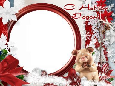 Красные, розовые. Рамка, фотоэффект: С Новым годом.