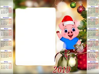 Календари. Рамка, фотоэффект: 2019 год.