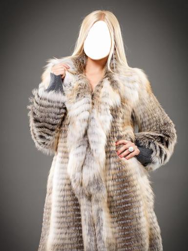Женские. Рамка, фотоэффект: Длинноволосая девушка блондинка в шубе.