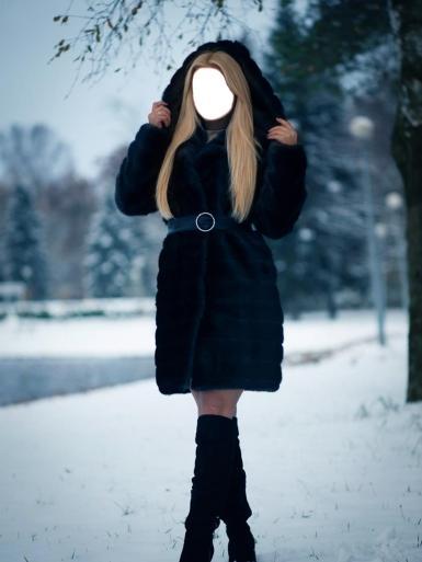 Женские. Рамка, фотоэффект: Девушка в черной, короткой шубе.