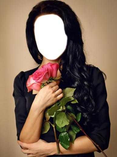 Женские. Рамка, фотоэффект: Черноволосая девушка. Фотошаблон для вставки фотографии лица. Девушка с букетом роз.