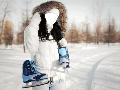 Женские. Рамка, фотоэффект: Девушка зимой, с коньками.