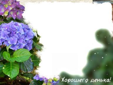 Другой текст. Рамка, фотоэффект: Хорошего денька. Букет фиолетовых и сиреневых цветов украсит вашу фотографию.