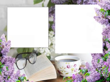 Новые рамки для фото. Рамка, фотоэффект: Сиреневая рамочка. Два выреза под ваши фотографии. Утопая в букетах сирени, за чашкой утреннего кофе.