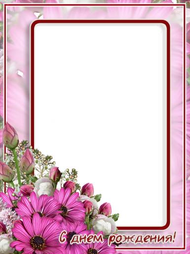 Новые рамки для фото. Рамка, фотоэффект: С днем рождения. Приятная, нежная розовая фоторамка в красивых, крупных цветах.