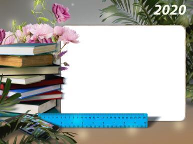 Рамки с одним вырезом. Рамка, фотоэффект: День знаний. Рамка на праздник День знаний. Один вырез, линейка и стопка книг.