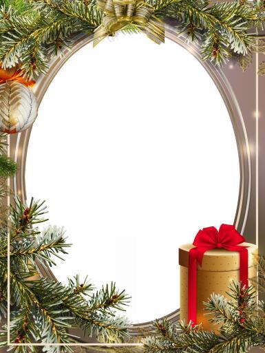 Зеленые, желтые рамки. Рамка, фотоэффект: Подарок. Рамка с одним вырезом. Еловые ветки. Круглая коробка для подарка на новый год.