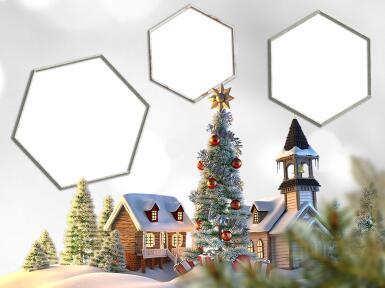 Три и более вырезов. Рамка, фотоэффект: Тройная рамка. Рамка для трех фотографий в Новогоднем стиле. Зимний, игрушечный городок с Новогодней елкой в центре.