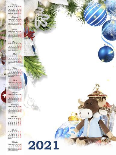 Календари. Рамка, фотоэффект: Календарь на 2021 год.. Новогодний календарь на 2021 год с бычком.