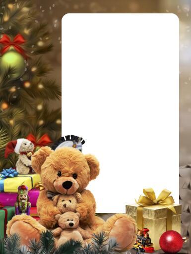 Рамки с одним вырезом. Рамка, фотоэффект: Новогодняя фоторамка.. Рамка под одну фотографию на новый год, с подарком.
