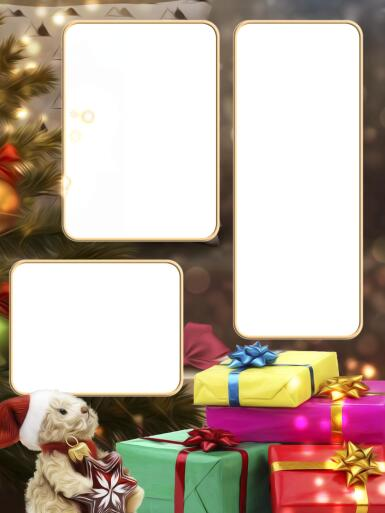 Три и более вырезов. Рамка, фотоэффект: Фоторамка подарочная. Много подарков. Новогодняя фоторамка с тремя фотографиями.