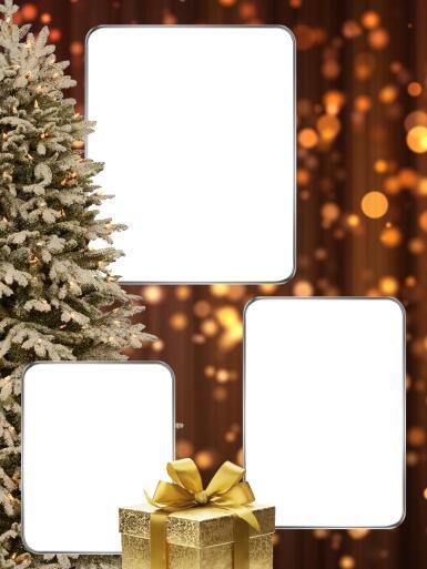 Три и более вырезов. Рамка, фотоэффект: Фоторамка на новый год.. Новогодняя тройная фоторамка.