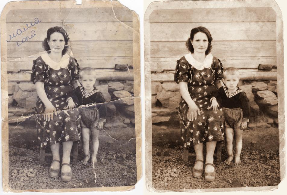 Пример реставрации фотографии. Ретушь, удаление трещин и загрезнений методом клонирования.