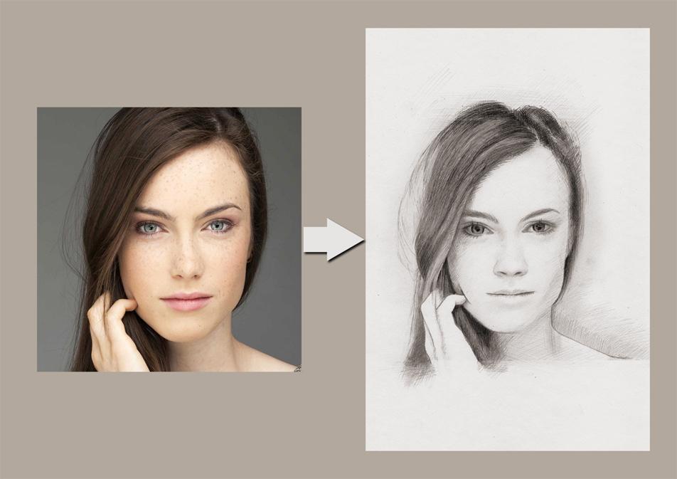 Здесь вы видите пример рисунка с фотографии, выполненного художником.