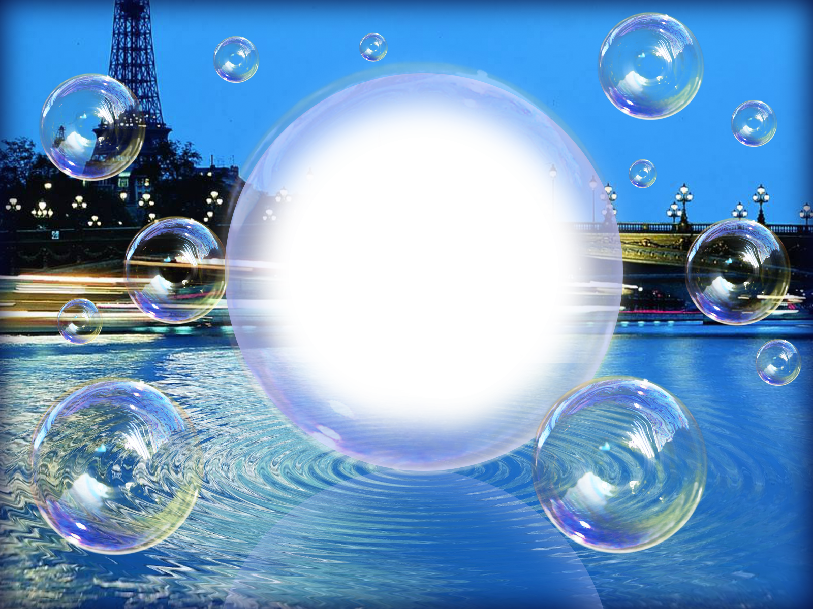 Фоторамка Фоторамка - мыльный пузырь Фоторамка для фотошопа, PNG шаблон. Фото в мыльном пузыре. Забавная фоторамка. Город, вечер, фонари, башня, мост, река, отражение в воде, набережная.