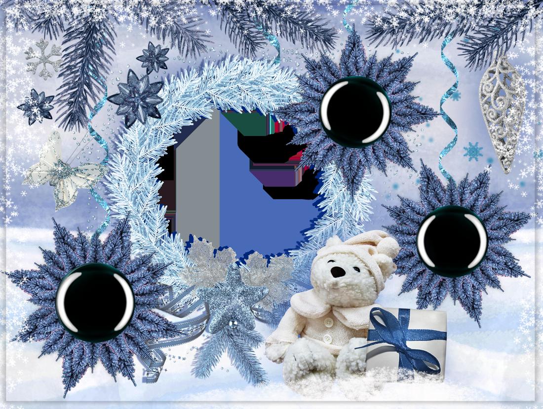Фоторамка Я и мои дети - фоторамка Фоторамка для фотошопа, PNG шаблон. Новогодняя рамка для четырех фото. Рамки в виде елочных украшений. Снежинки, еловый венок, плюшевый мишка, подарки.