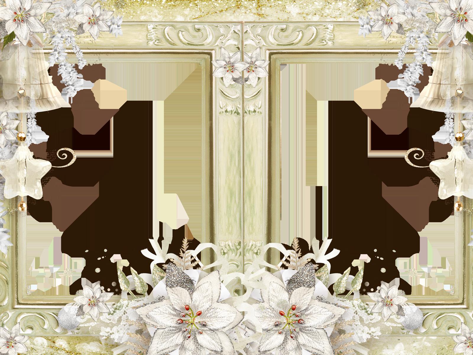 Фоторамка Двойная фоторамка с цветами Фоторамка для фотошопа, PNG шаблон. Бледно-золотистая рамка для двух фото. Золотистый фон, цветы, узоры.