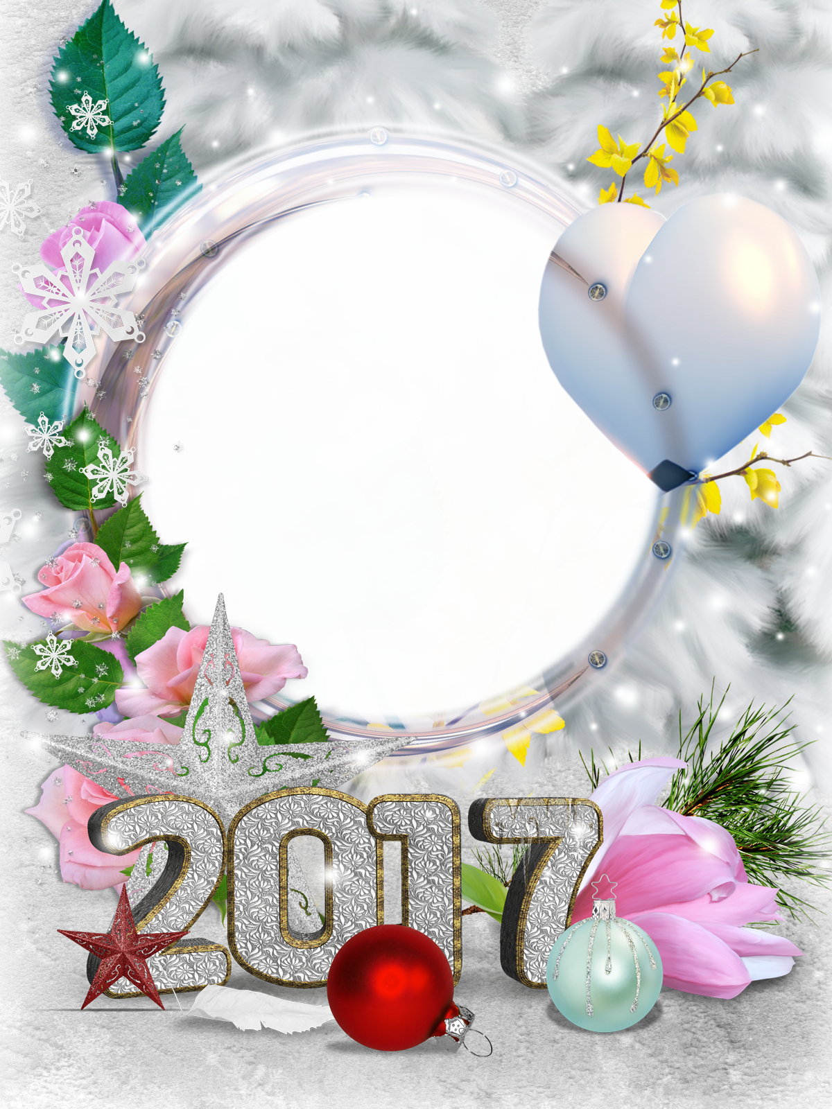 Фоторамка Фоторамка 2017 Фоторамка для фотошопа, PNG шаблон. Новогодняя фоторамка с цифрами 2017. Розовые розы, снежинки, серебряная звезда, осенние листья, шарик в форме сердечка, елочные игрушки, стеклянные шары.