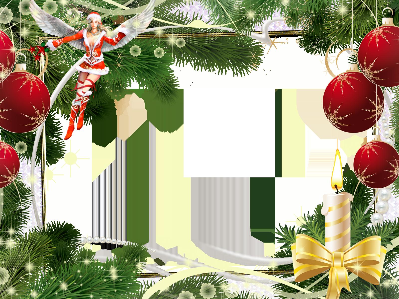 Фоторамка Рамка с новогодней феей Фоторамка для фотошопа, PNG шаблон. Новогодняя фоторамка. Фея в соблазнительном наряде снегурочки. Крылья ангела. Елочные игрушки, красные шары, елка, ветки, свеча, бант. Снежинки.