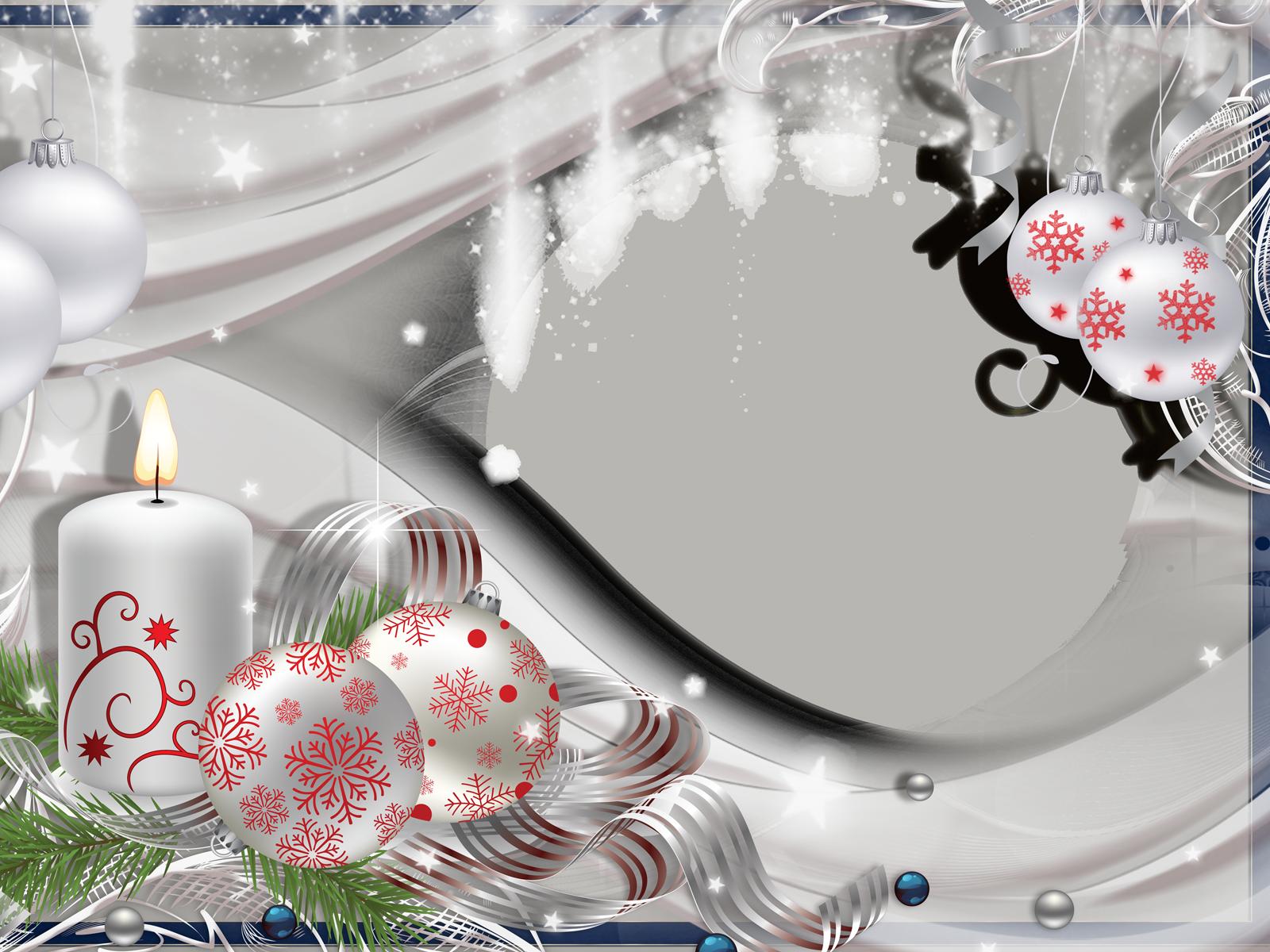 Фоторамка Светлая рамка Фоторамка для фотошопа, PNG шаблон. Рамка с овальным вырезом. Белые игрушки с рисунком снежинок из тончайших красных линий. Горящая свеча.