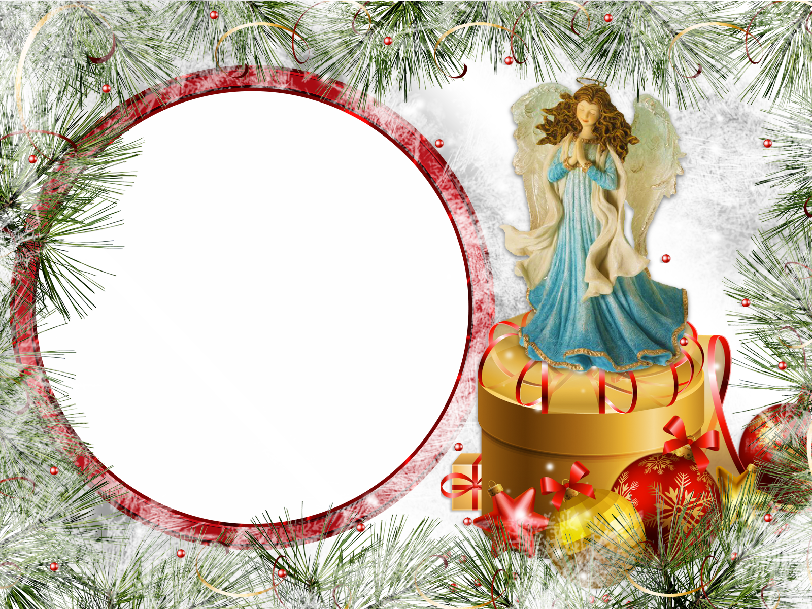 Фоторамка Фоторамка с ангелом Фоторамка для фотошопа, PNG шаблон. Рождественская открытка с вашим фото. Ангел, коробка с подарками, елочные игрушки, шары, елка.