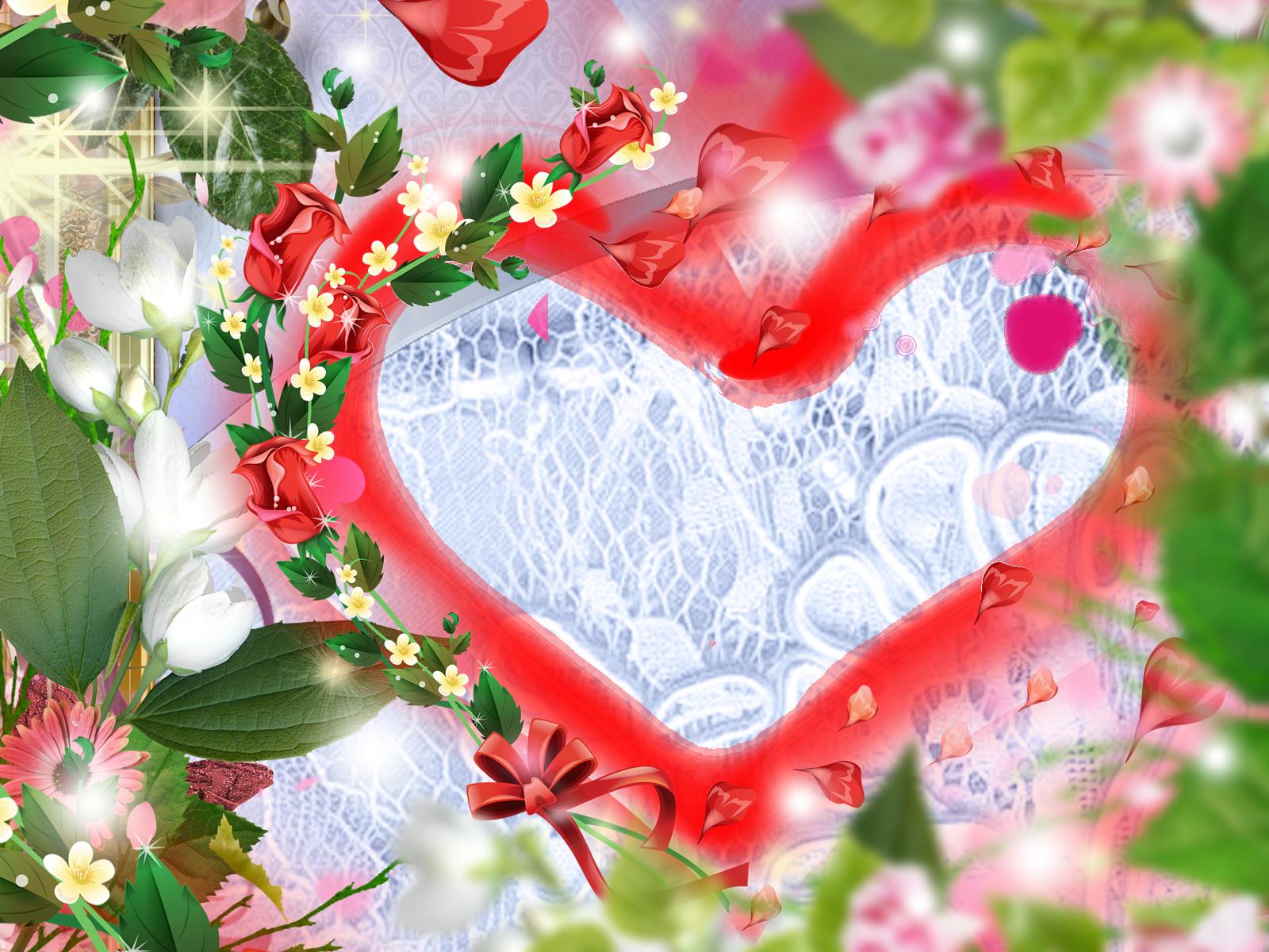 Фоторамка Фоторамка-сердце Фоторамка для фотошопа, PNG шаблон. Рамочка в форме сердца. Лето, цветы, красные розы, кружева, ленты.