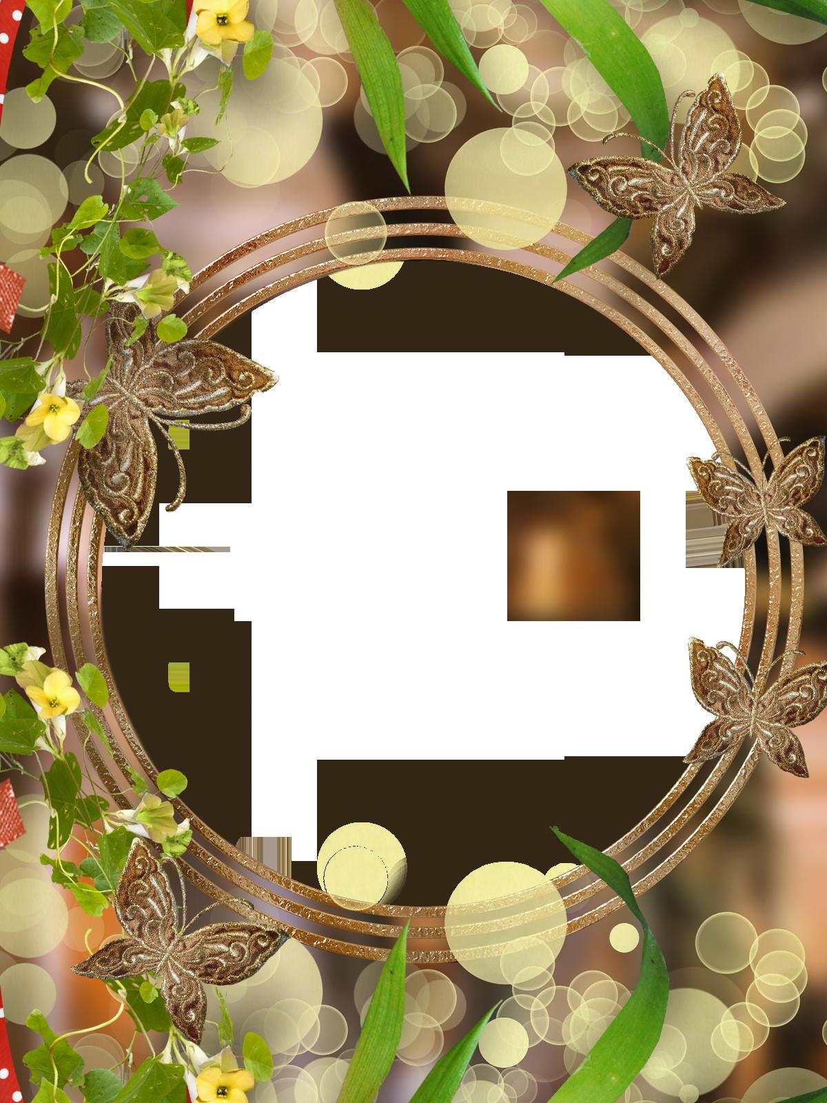Фоторамка Круглая рамка с бабочками Фоторамка для фотошопа, PNG шаблон. Золотистая фоторамка. Золотые бабочки. Лето, зелень, листочки, цветы.