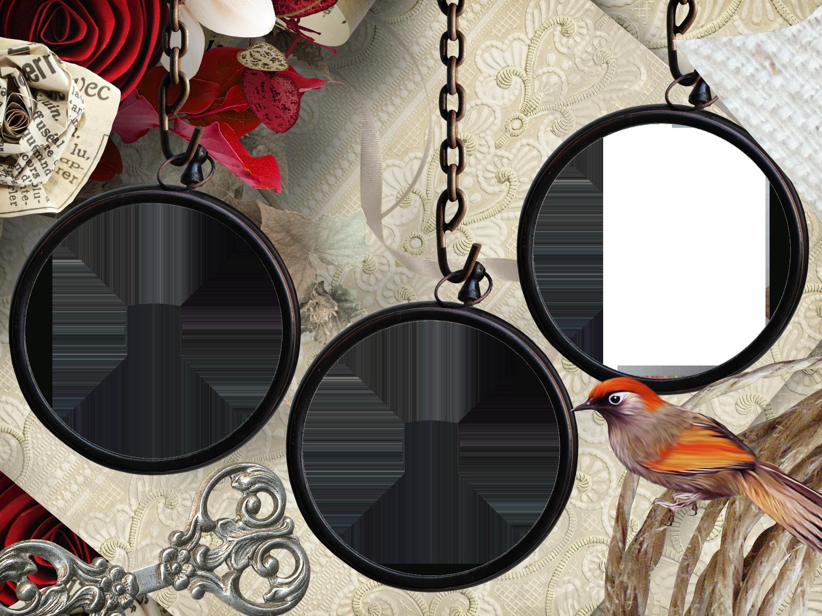 Фоторамка Тройная фоторамка с певчей птицей Фоторамка для фотошопа, PNG шаблон. Три круглые фоторамки на цепочке, певчая птица, фигурный ключ, цветы из бумаги.