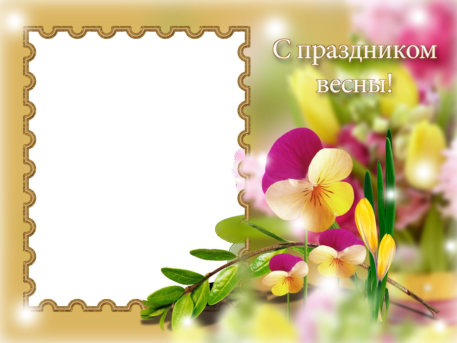 Фоторамка С праздником весны! Фоторамка для фотошопа, PNG шаблон. Фоторамка, открытка, поздравление с первым днем весны. 1 марта. Букет цветов. Весенняя открытка.