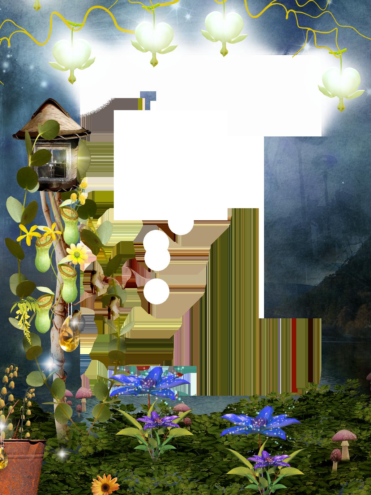 Фоторамка Сказочная фоторамка Фоторамка для фотошопа, PNG шаблон. Фоторамка, комнатные растения, мох, грибы, лоза, фонарики, сказочные цветы. Таинственная открытка с фотографией.