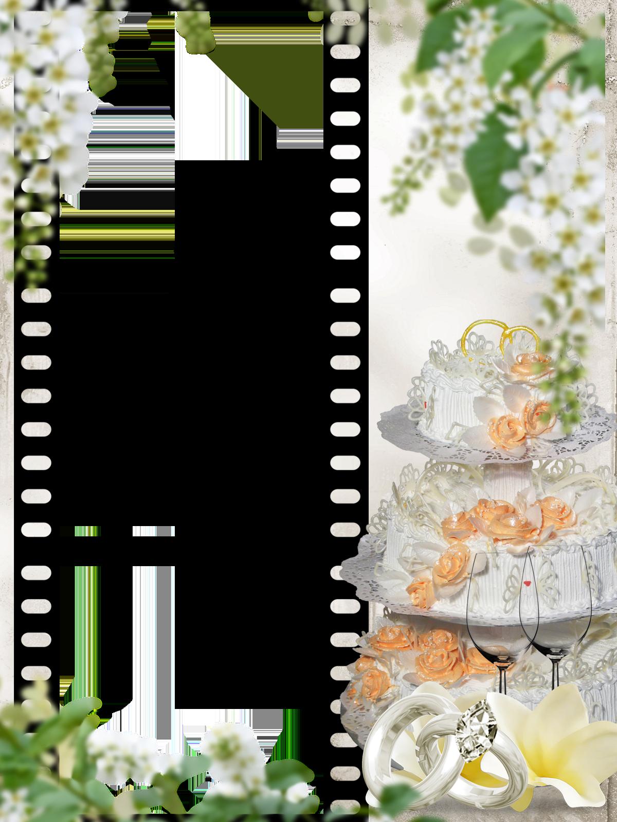Фоторамка Свадебный торт Фоторамка для фотошопа, PNG шаблон. Фоторамка на свадьбу. Свадебный торт. Кадры фотопленки. Три рамки. Фоторамка на 3 фотографии. Белая черемуха, цветущая яблоня, гроздья белых цветов. Обручальные кольца, бокалы.