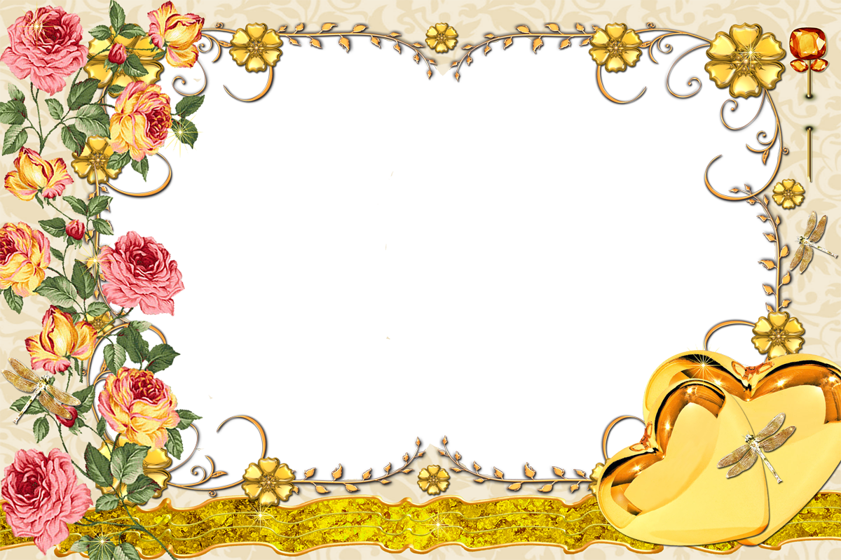 Фоторамка Винтажная рамка с розами Фоторамка для фотошопа, PNG шаблон.