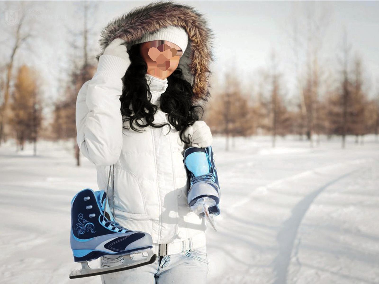 Фоторамка Девушка зимой, с коньками Фоторамка для фотошопа, PNG шаблон.