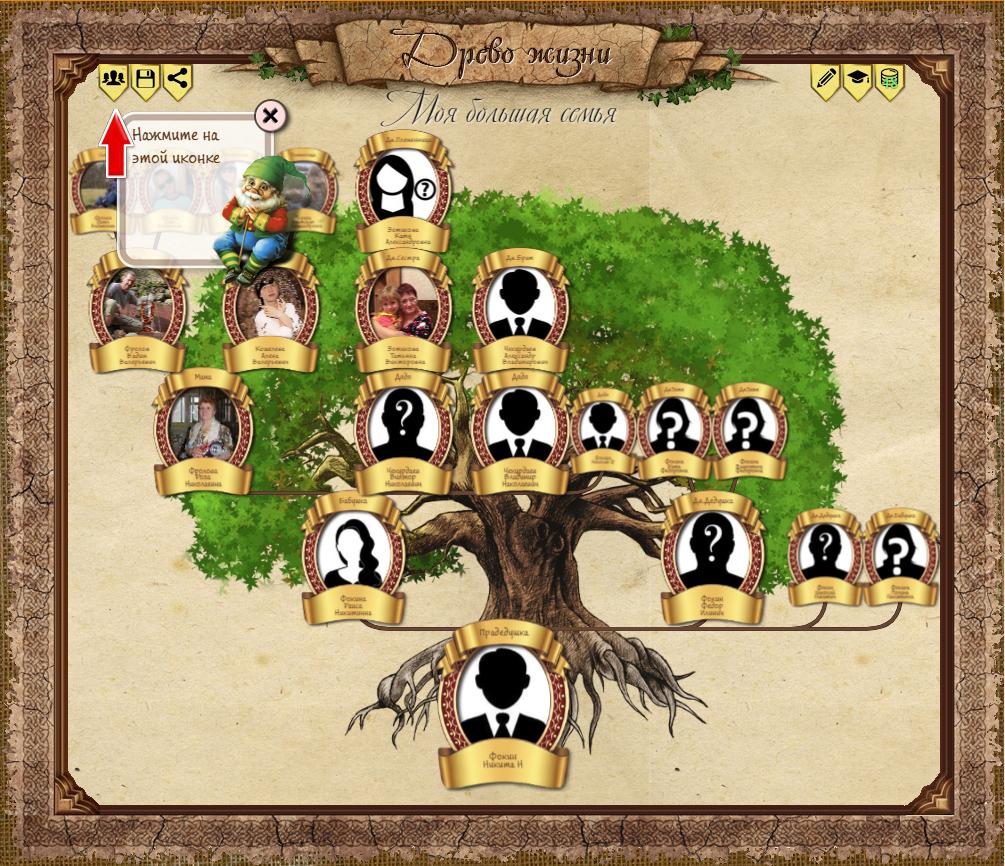 Родовое, родословное, генеалогическое древо. Создано в приложении на нашем сайте.